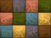 Tiles Drawings - Medieval 12-Tile Collage Summer Colors by S L Kellaway