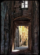 Joan Minchak Framed Prints - Medieval Alley Framed Print by Joan  Minchak