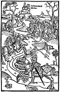Knights Castle Drawings - Medieval Battle Engraving Chronicon Pictum by
