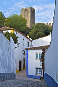 Blue Cobblestone Prints - Medieval Castle of Obidos Print by David Letts