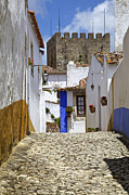 David Letts Framed Prints - Medieval Cobblestone Street of the Medieval Town of Obidos II Framed Print by David Letts