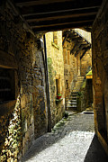 Old Houses Metal Prints - Medieval courtyard Metal Print by Elena Elisseeva