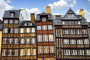 Leaning Framed Prints - Medieval houses in Rennes Framed Print by Elena Elisseeva