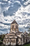 Swirling Clouds Posters - Medieval Monastery Under Swirling Clouds Poster by Nila Newsom