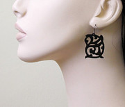 Perspex Jewellery Jewelry - Medieval Ornament Design Earrings by Rony Bank