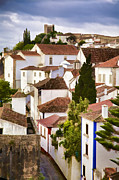 Blue Cobblestone Prints - Medieval Romantic Village of Obidos Print by David Letts
