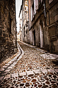 Narrow Perspective Framed Prints - Medieval street in France Framed Print by Elena Elisseeva