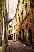 Pavement Prints - Medieval street in Perigueux Print by Elena Elisseeva