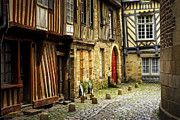 Leaning Building Photos - Medieval street in Rennes by Elena Elisseeva