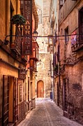 Old Street Metal Prints - Medieval Street in Toledo Metal Print by Levin Rodriguez