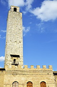Battlement Posters - Medieval tower in San Gimignano Poster by Sami Sarkis