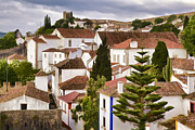 Blue Cobblestone Prints - Medieval Village of Romantic Obidos Print by David Letts
