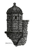 Part Of Drawings - Medieval Watchtower by Brian Ceitinn