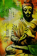 Greeting Cards Painting Originals - Meditating Buddha by Corporate Art Task Force