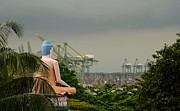 Meditating Buddha Views Container Seaport  Print by Imran Ahmed