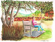 Arboretum Tapestries Textiles Originals - Meditating-in-The-Arboretum-Arcadia-CA by Carlos G Groppa