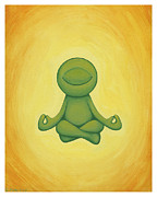 Cartoon Alien Posters - Meditating Kelly Poster by Cori Pitcher