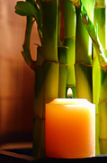 Bamboo Framed Prints - Meditation Candle and Bamboo Framed Print by Olivier Le Queinec