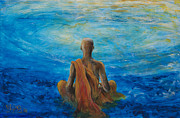 Buddhist Monk Paintings - Meditation by Nik Helbig