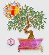 Fantasy Tree Art Print Mixed Media Posters - Meditation Tree Poster by Gayle Odsather