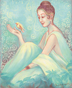 Observer Painting Posters - Meditation With Bird Poster by Judith Grzimek
