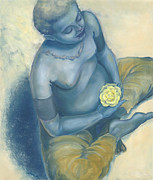 Spiritual Portrait Of Woman Painting Prints - Meditation With Flower Print by Judith Grzimek