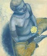 Meditation With Flower Print by Judith Grzimek