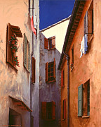 Alleyway Paintings - Mediterranean Blue by Michael Swanson