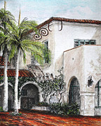Mediterranean Drawings Framed Prints - Mediterranean courtyard  Framed Print by Danuta Bennett
