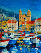 Mona Edulescu Paintings - Mediterranean Harbor by EMONA Art