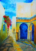 Traditional Doors Painting Framed Prints - Mediterranean Medina Framed Print by Ana Maria Edulescu