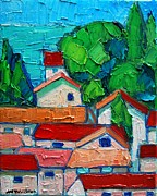 Picturesque Painting Posters - Mediterranean Roofs 2 Poster by Ana Maria Edulescu