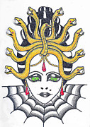 Medusa Drawings Metal Prints - Medusa Metal Print by Amanda Machin