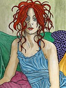 Blanket Drawings Prints - Medusa Print by Chuck  Accleton