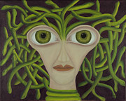 Coqle Aragrev Metal Prints - Medusa in Purple Metal Print by Coqle Aragrev