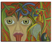 Tongue Art Painting Originals - Medusa in Red by Coqle Aragrev
