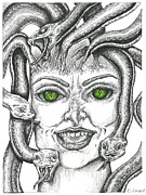 Snakes Drawings Prints - Medusa Print by Karen Sirard