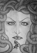 Medusa Drawings Metal Prints - Medusa Metal Print by  Silvia Mariottini