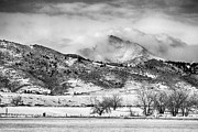 James BO  Insogna - Meeker and Longs Peak in Winter Clouds BW