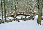 White Arched Bridge Prints - Meeks Park Bridge in Snow Print by Kenny Francis