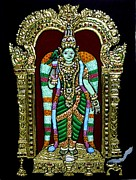 Hindu Goddess Mixed Media Metal Prints - Meenakshi Amman Metal Print by Vimala Jajoo