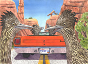 Roadrunner Framed Prints - Meep them Framed Print by Catherine G McElroy