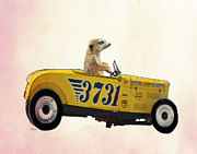 Wall Decor Greeting Cards Prints - Meerkat and Hot Rod Print by Kelly McLaughlan