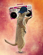 Wall Decor Greeting Cards Prints - Meerkat with a GhettoBlaster Print by Kelly McLaughlan