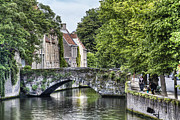 Medieval City Photos - Meestraat Bridge in Bruges by Marc Garrido