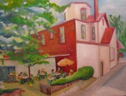 Building Painting Originals - Meet Me at Schmagels by Maria Milazzo