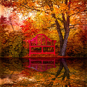Park Benches Posters - Meet Me at the Pond Poster by Debra and Dave Vanderlaan