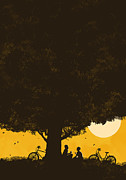 Silhouette Tree Posters - Meet me under the giant oak tree Poster by Budi Satria Kwan