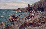 Fishing Painting Posters - Meeting Father Poster by Thomas James Lloyd