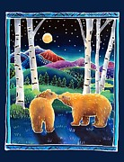 Brown Bear Art Framed Prints - Meeting in the Moonlight Framed Print by Harriet Peck Taylor